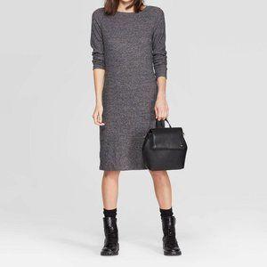 Gray Heather Long Sleeve Stretch Ribbed Knit Dress